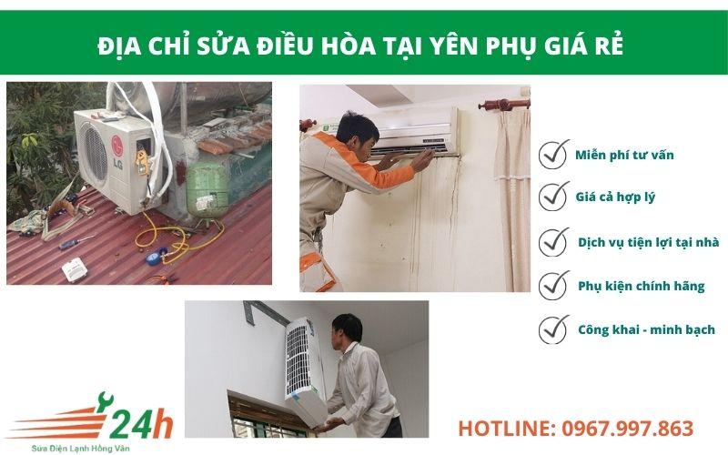 Điện Lạnh Hồng Vân nhận sửa điều hòa tại Yên Phụ giá rẻ, có bảo hành